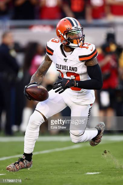 Odell Beckham Jr. #13 of the Cleveland Browns scrambles to pass against the San Francisco 49ers at Levi's Stadium on October 07, 2019 in Santa Clara,...
