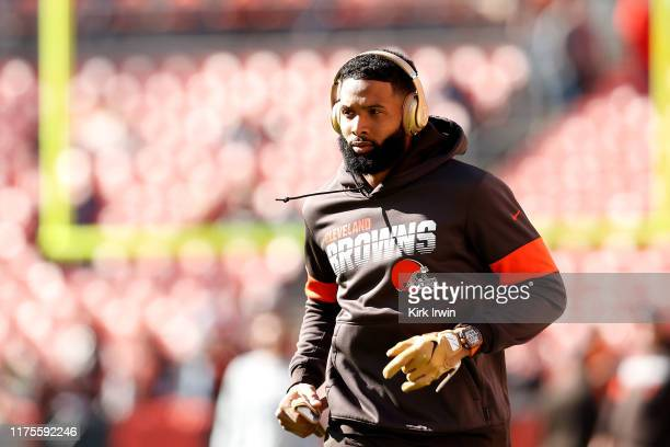 Odell Beckham Jr #13 of the Cleveland Browns warms up prior to the start of the game against the Seattle Seahawks at FirstEnergy Stadium on October...