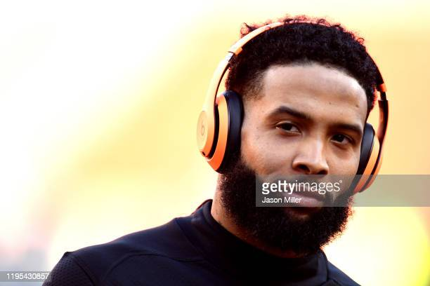 Odell Beckham Jr. #13 of the Cleveland Browns warms up prior to the game against the Baltimore Ravens at FirstEnergy Stadium on December 22, 2019 in...