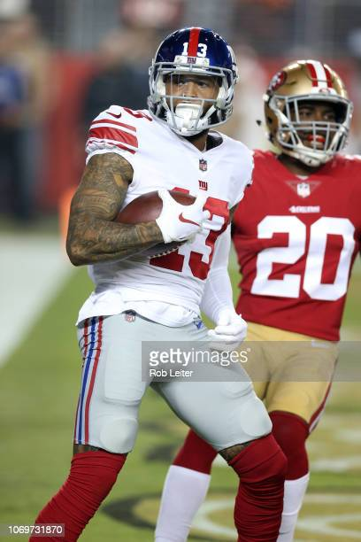 Odell Beckham Jr #13 of the New York Giants catches a touchdown pass during the game against the San Francisco 49ers at Levi Stadium on November 11...