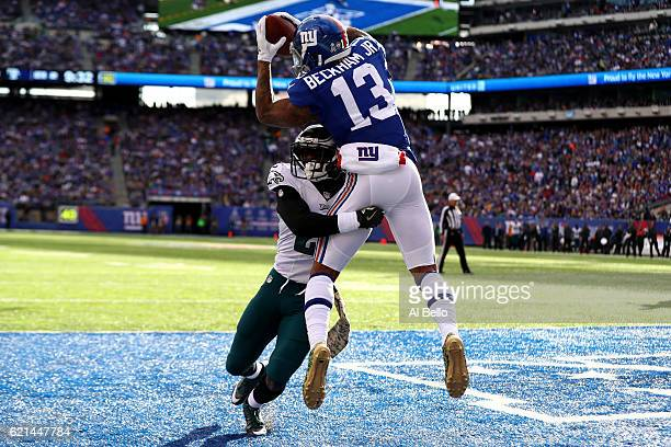 Odell Beckham Jr #13 of the New York Giants catches a touchdown pass thrown by Eli Manning against the Philadelphia Eagles during the second quarter...