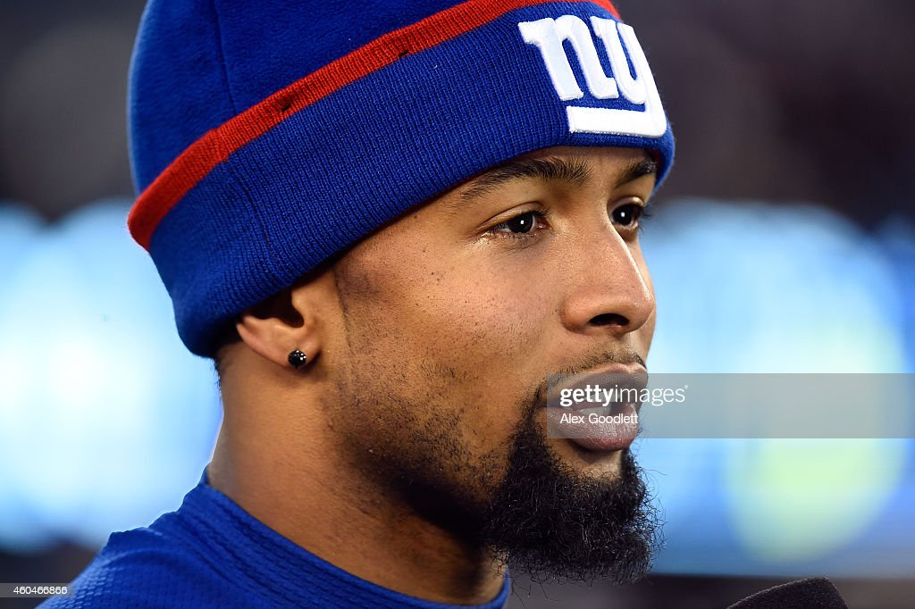 Odell Beckham Jr. #13 of the New York Giants looks on after their game against the Washington Redskins at MetLife Stadium on December 14, 2014 in East Rutherford, New Jersey. The New York Giants defeated the Washington Redskins 24 to 13.