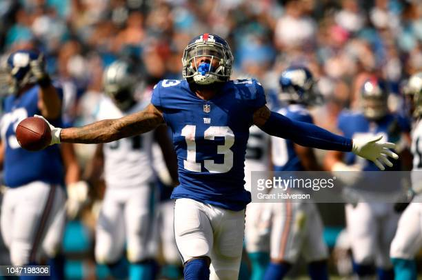 Odell Beckham Jr #13 of the New York Giants reacts against the Carolina Panthers in the second quarter during their game at Bank of America Stadium...
