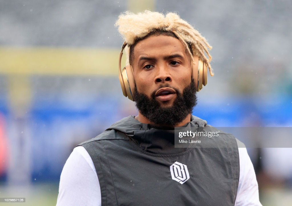 Odell Beckham Jr. #13 of the New York Giants warms up before the game against the Jacksonville Jaguars at MetLife Stadium on September 9, 2018 in East Rutherford, New Jersey.