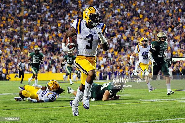 Odell Beckham Jr. #3 of the LSU Tigers runs back a punt during a game against the UAB Blazers at Tiger Stadium on September 7, 2013 in Baton Rouge,...