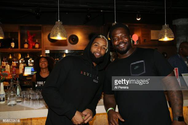 Odell Beckham Jr and Damon Harrison of the New York Giants attend Project 375's Paddle Battle pingpong charity tournament at SPiN New York on October...