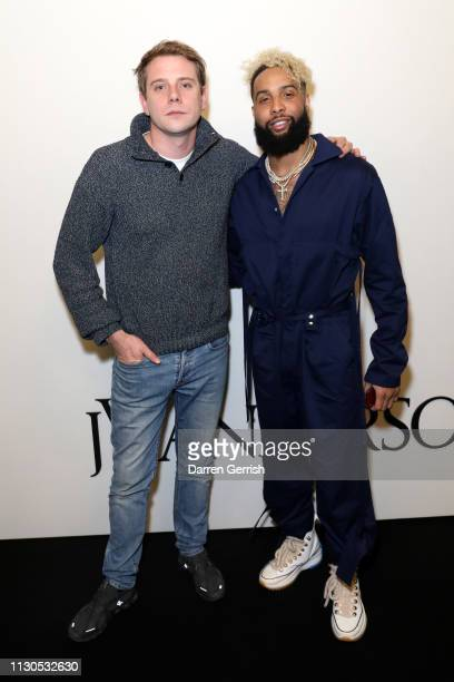 Odell Beckham Jr and JW Anderson attends the JW Anderson show during London Fashion Week February 2019 at the Yeomanry House on February 18 2019 in...