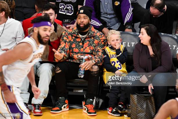 Odell Beckham Jr attends a basketball game between the Los Angeles Lakers and the Phoenix Suns at Staples Center on January 27 2019 in Los Angeles...