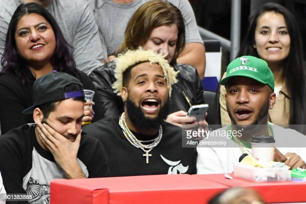 Odell Beckham Jr attends a basketball game between the Los Angeles Clippers and the Oklahoma City Thunder at Staples Center on January 4 2018 in Los...