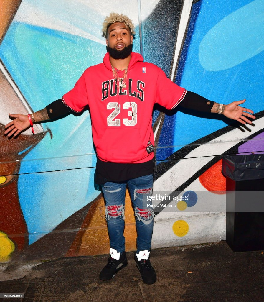 Odell Beckham Jr. attends a Super Bowl party at Mercy Night club on February 4, 2017 in Houston, Texas.