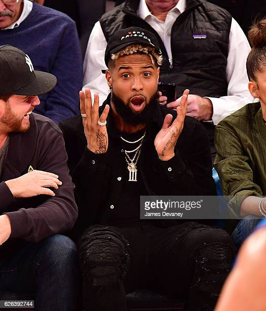 Odell Beckham Jr attends New York Knicks vs Oklahoma City Thunder game at Madison Square Garden on November 28 2016 in New York City