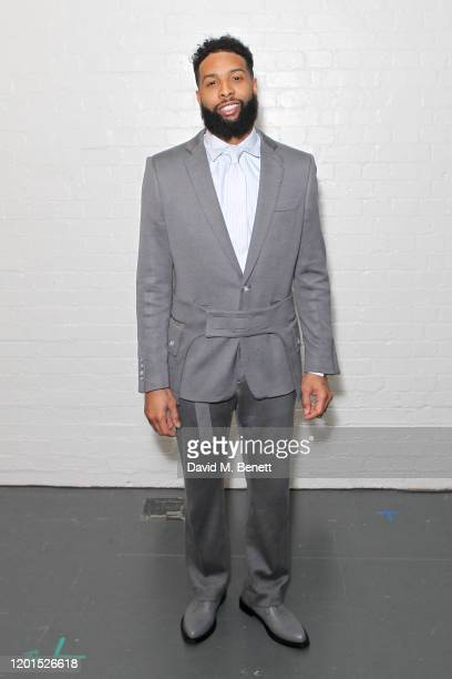 Odell Beckham Jr. Attends the Burberry Autumn/Winter 2020 show during London Fashion Week at Kensington Olympia on February 17, 2020 in London,...