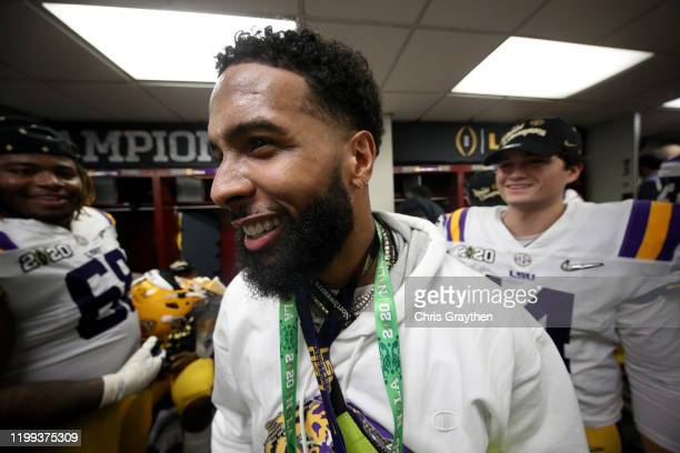 Odell Beckham Jr celebrates in the locker room the LSU Tigers after their 4225 win over Clemson Tigers in the College Football Playoff National...