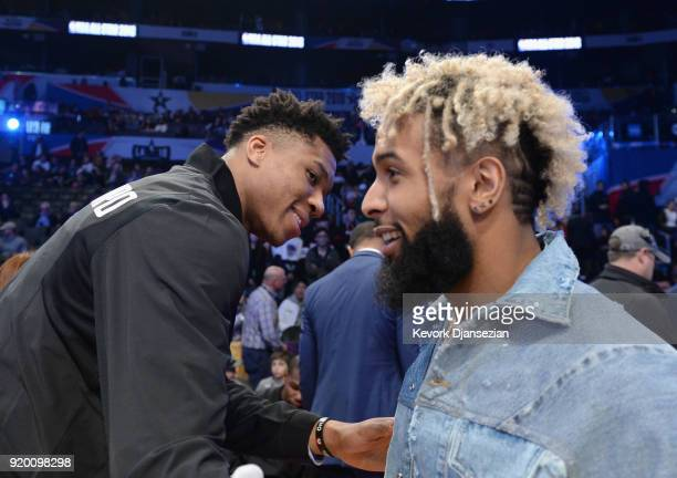 Odell Beckham Jr greets Giannis Antetokounmpo at the NBA AllStar Game 2018 at Staples Center on February 18 2018 in Los Angeles California
