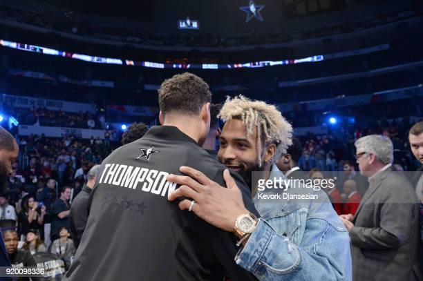 Odell Beckham Jr greets Klay Thompson at the NBA AllStar Game 2018 at Staples Center on February 18 2018 in Los Angeles California
