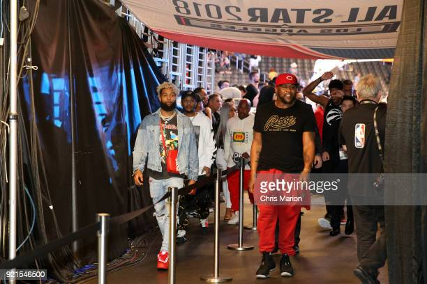 Odell Beckham Jr is seen during the NBA AllStar Game as a part of 2018 NBA AllStar Weekend at STAPLES Center on February 18 2018 in Los Angeles...