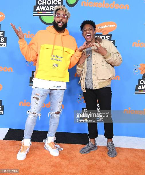 Odell Beckham Jr Jaylin Smith arrives at the Nickelodeon's 2018 Kids' Choice Awards at The Forum on March 24 2018 in Inglewood California
