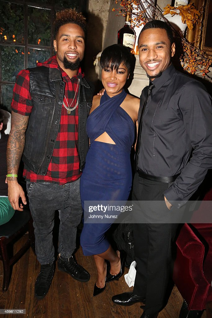 Odell Beckham Jr., Keke Palmer and Trey Songz attend Trey Songz 30th Birthday Celebration at The Lion on December 1, 2014 in New York City.