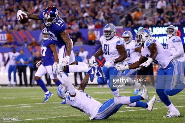 Odell Beckham Jr of the New York Giants catches a pass in the second quarter against the Detroit Lions during their game at MetLife Stadium on...