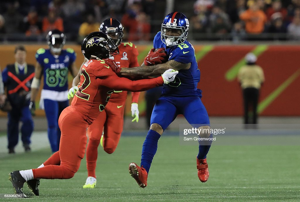 Odell Beckham Jr #13 of the NFC carries the ball against the AFC during the NFL Pro Bowl at the Orlando Citrus Bowl on January 29, 2017 in Orlando, Florida.