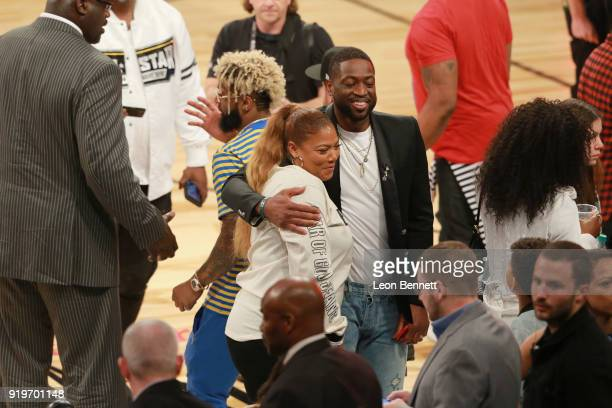 Odell Beckham Jr Queen Latifah and Dwyane Wade attend The 2018 State Farm AllStar Saturday Night at Staples Center on February 17 2018 in Los Angeles...