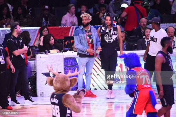 Odell Beckham Jr talks with Stephen Curry of team Stephen during the NBA AllStar Game as a part of 2018 NBA AllStar Weekend at STAPLES Center on...