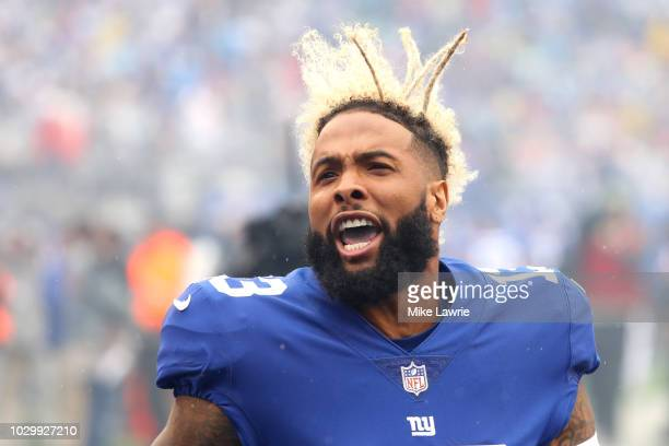 Odell Beckham Jr#13 of the New York Giants cheers before the game against the Jacksonville Jaguars at MetLife Stadium on September 9 2018 in East...