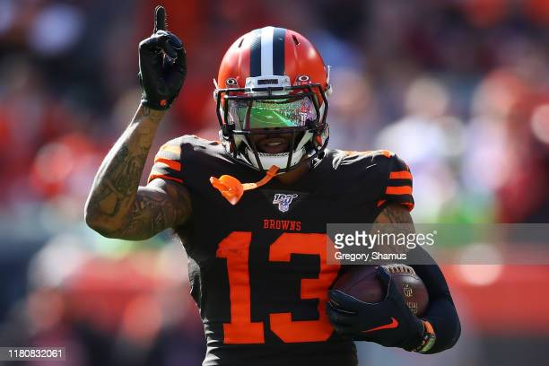 Odell Beckham of the Cleveland Browns reacts during the second quarter while playing the Seattle Seahawks at FirstEnergy Stadium on October 13 2019...