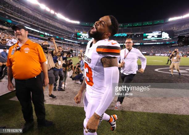 Odell Beckham of the Cleveland Browns runs off the field after defeating the New York Jets at MetLife Stadium on September 16, 2019 in East...