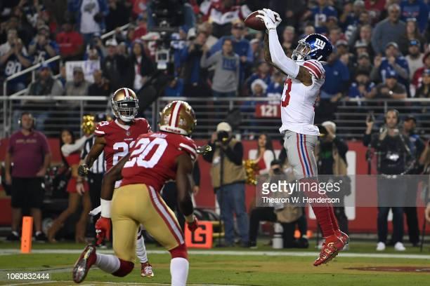 Odell Beckham of the New York Giants catches a 10yard touchdown against the San Francisco 49ers in the first quarter of their NFL game at Levi's...
