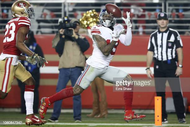 Odell Beckham of the New York Giants catches a 20yard touchdown against the San Francisco 49ers during their NFL game at Levi's Stadium on November...