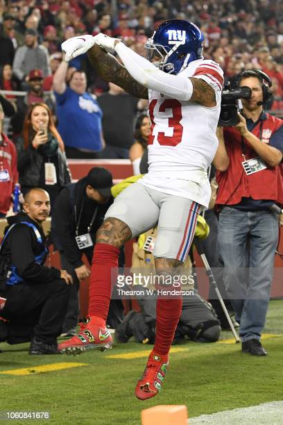 Odell Beckham of the New York Giants celebrates after scoring on a 20yard pass against the San Francisco 49ers during their NFL game at Levi's...