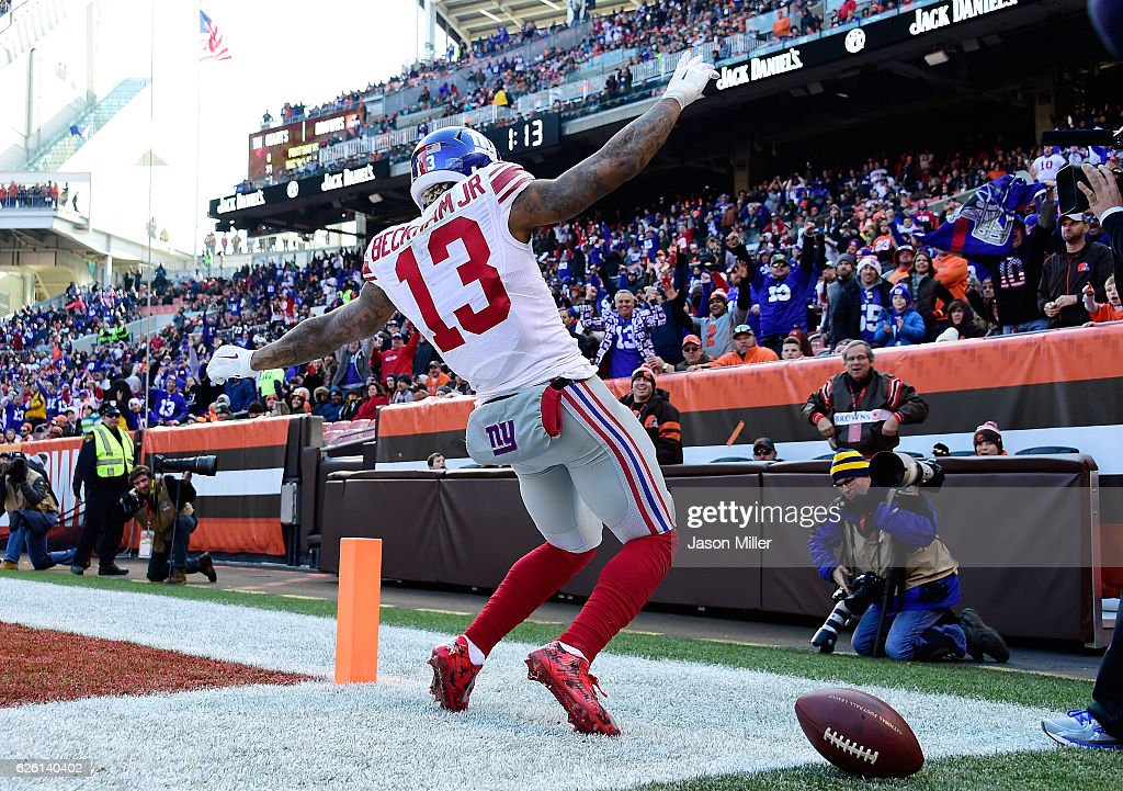 Odell Beckham #13 of the New York Giants celebrates his second quarter touchdown against the Cleveland Browns at FirstEnergy Stadium on November 27, 2016 in Cleveland, Ohio.