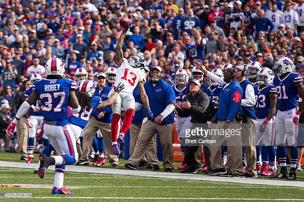Odell Beckham of the New York Giants goes up for a catch ruled incomplete during the second half against the Buffalo Bills on October 4 2015 at Ralph...