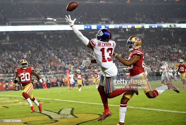 Odell Beckham of the New York Giants is unable to make a catch against the San Francisco 49ers during their NFL game at Levi's Stadium on November 12...