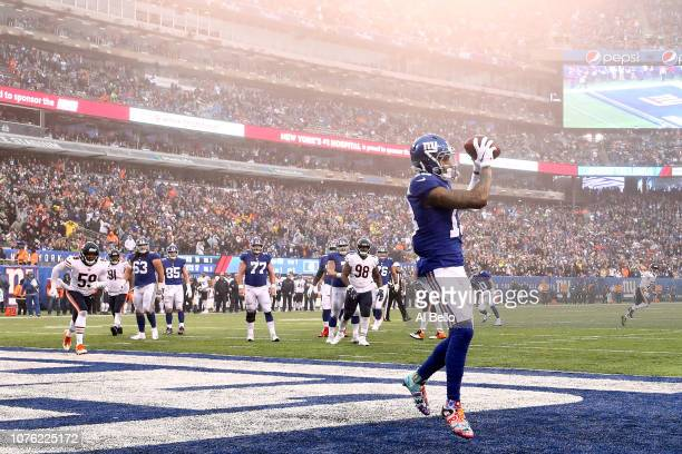Odell Beckham of the New York Giants scores a third quarter touchdown reception against the Chicago Bears at MetLife Stadium on December 02, 2018 in...