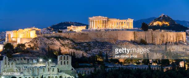 odeon of herodes atticus, pantheon, acropolis, mount lycabettus, blue hour, athens, greece - amphitheater stock photos and pictures