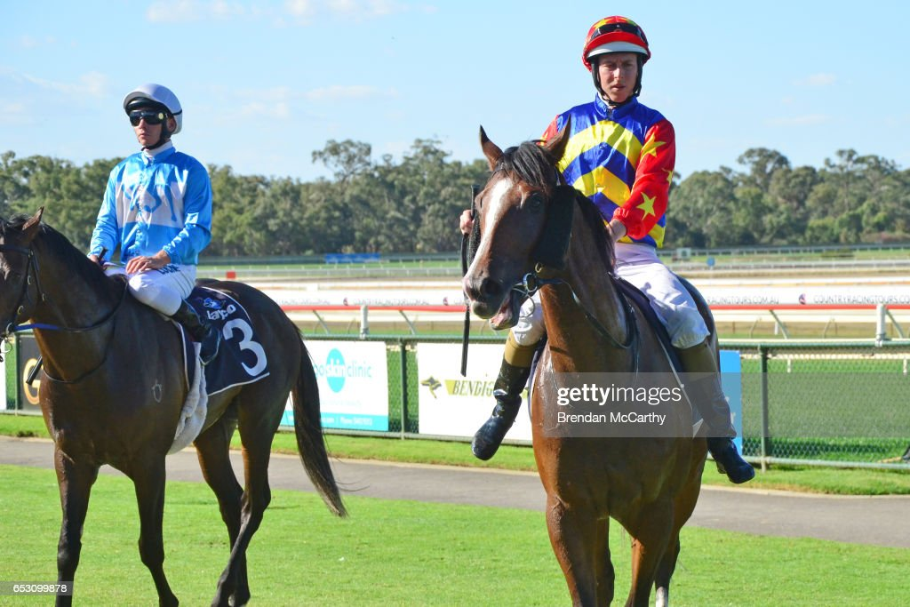 Odeon (NZ) ridden by Damian Lane returns to the mounting yard after winning the Leon Weigard Class 1 Handicap at Bendigo Racecourse on March 14, 2017 in Bendigo, Australia.