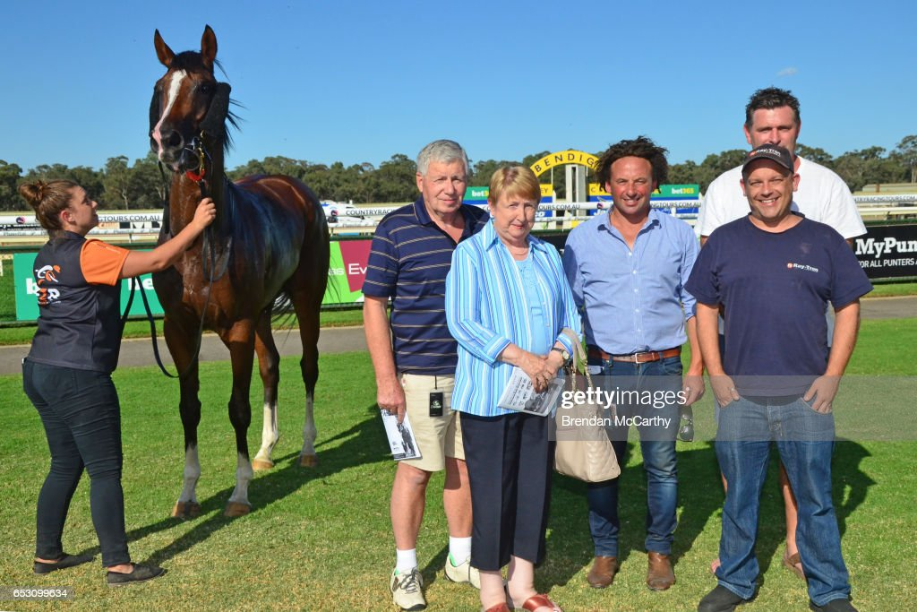 Odeon (NZ) with strapper Rebecca Crampon, Mathew Ellerton and owners after winning the Leon Weigard Class 1 Handicap at Bendigo Racecourse on March 14, 2017 in Bendigo, Australia.