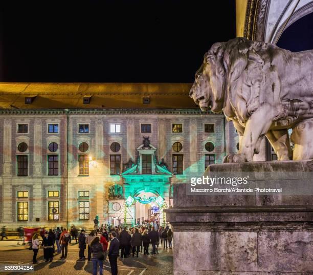 Odeonplatz, the entrance of the Christmas Village (Weinaachtsdorf) at the Munich Residenz