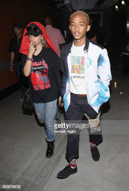 Odessa Adlon and actor Jaden Smith attend night one of the 2017 BET Experience STAPLES Center Concert sponsored by Hulu at Staples Center on June 22...