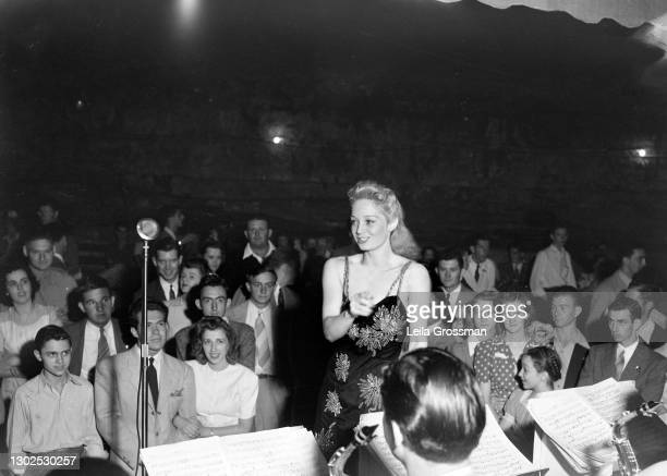 Odessa Cowan, known professionally as Ina Ray Hutton, performs for the USO circa 1945 in Clarksville near Nashville, Tennessee.