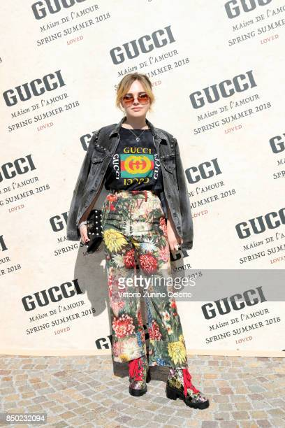 Odessa Young arrives at the Gucci show during Milan Fashion Week Spring/Summer 2018 on September 20 2017 in Milan Italy