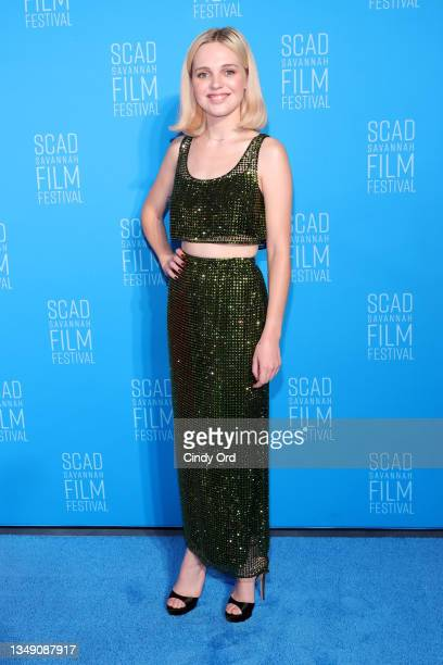 Odessa Young attends the red carpet for the 24th SCAD Savannah Film Festival on October 25, 2021 in Savannah, Georgia.