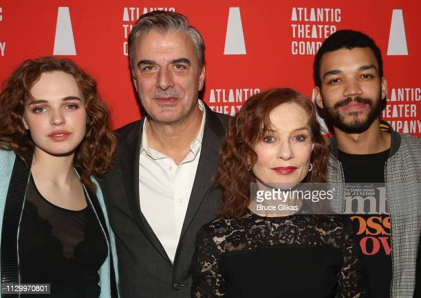 Odessa Young Chris Noth Isabelle Huppert and Justice Smith pose at the opening night after party for The Atlantic Theater Company production of The...