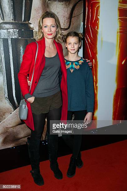 WARSAW POLAND DECEMBER 21 Odetta Moro with daughterattends the premiere of Star Wars The Force Awakens on December 17 2015 at the Multikino Zlote...