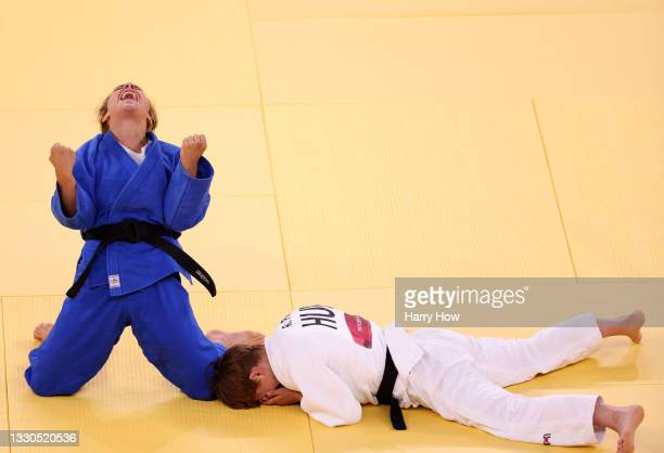 Odette Giuffrida of Team Italy celebrates after defeating Reka Pupp of Team Hungary during the Women's Judo 52kg Contest for Bronze Medal A on day...