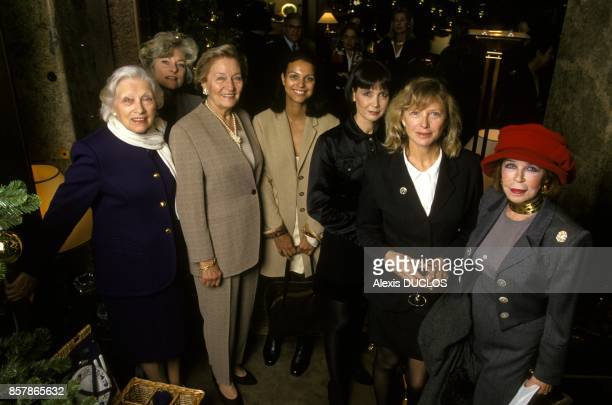 Odette Ventura surrounded by Christiane Gabin Florence Moncorge Isabelle Giordano Sabine Azema Aurore Clement and Martha Barriere at lunch for the...