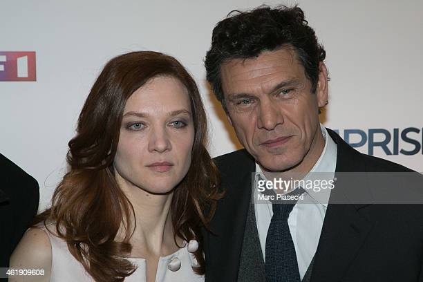 Odile Vuillemin and Marc Lavoine attend the 'L'Emprise' photocall at Cinema Arlequin on January 21 2015 in Paris France