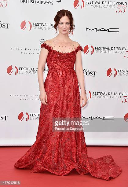 Odile Vuillemin arrives to attend the opening ceremony of the 55th Monte Carlo TV Festival on June 13 2015 in MonteCarlo Monaco